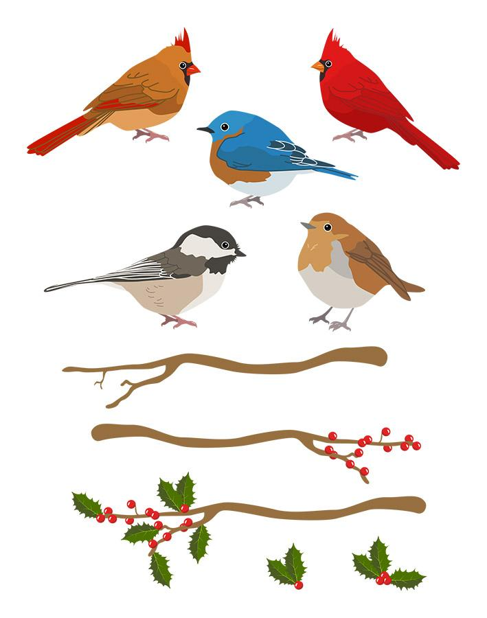 Winter Birds Clipart.