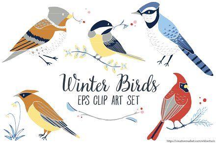 Winter Birds Vector Clip Art EPS.