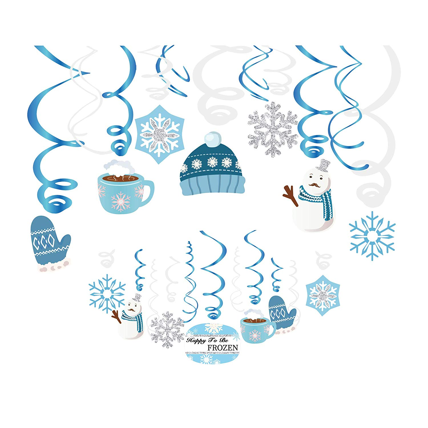 Kristin Paradise 30Ct Winter Wonderland Hanging Swirl Decorations, Holiday  Snowflake Party Supplies, Snow Birthday Theme Decor for Boy Girl Baby.