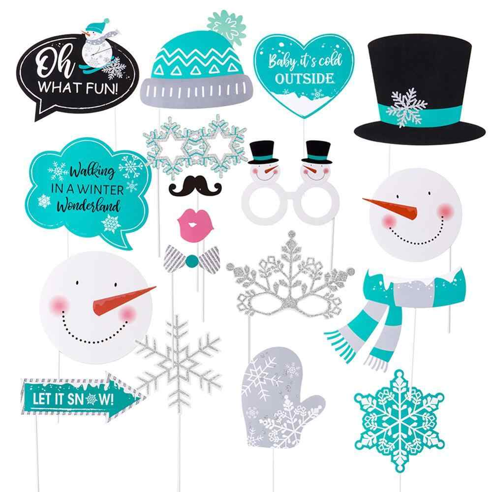 Fun Glittery 18pcs Winter Wonderland Photo Booth Props Snowflake Snowman  Let It Snow Christmas Decorations Baby Birthday Party.