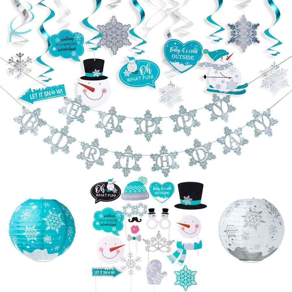 Let it Snow Party Decorations Lanterns Balloons Photo props.