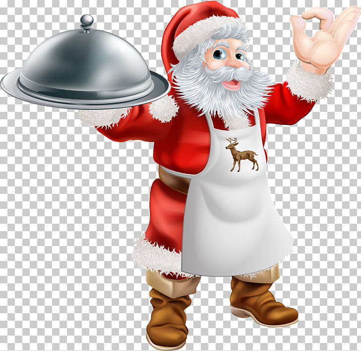 Santa Claus Christmas dinner Cooking Food Illustration.