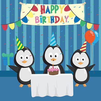 Cute Penguin In Birthday Party With Friends Clipart Image.
