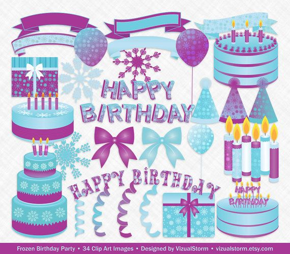 Winter Birthday Clipart For Snowflake Party Theme, Cold.