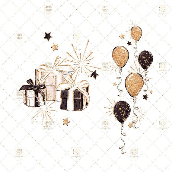 New Year Clip Art Fashion Birthday Party Clipart Winter Gold.