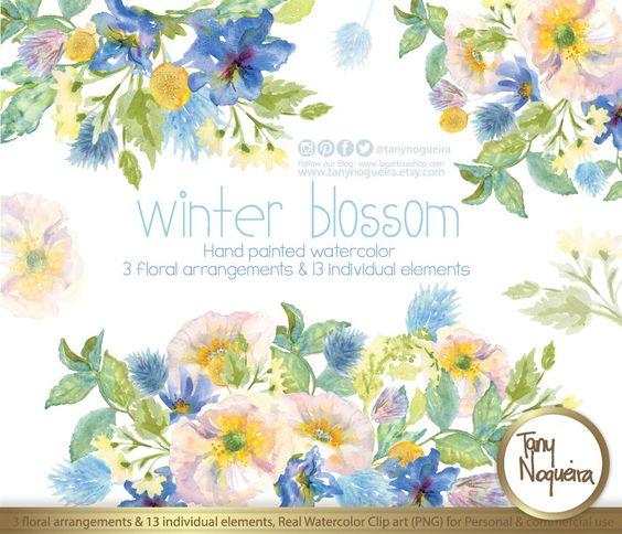 Winter Blossom,13 Elementos Clipart, arreglos florales en acuarela.