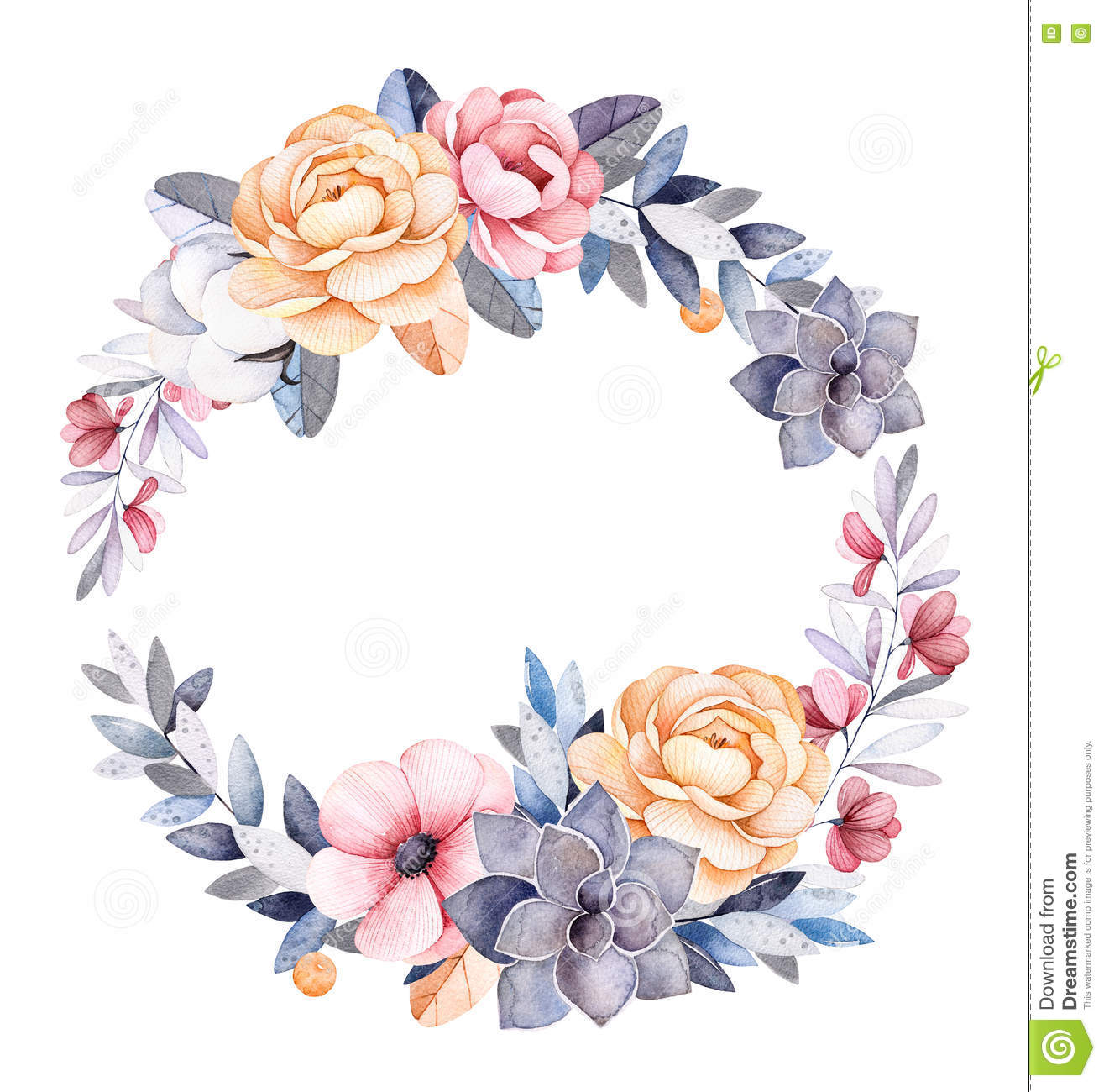 Winter Floral Wreath With Branches,cotton Plants,flowers Stock.