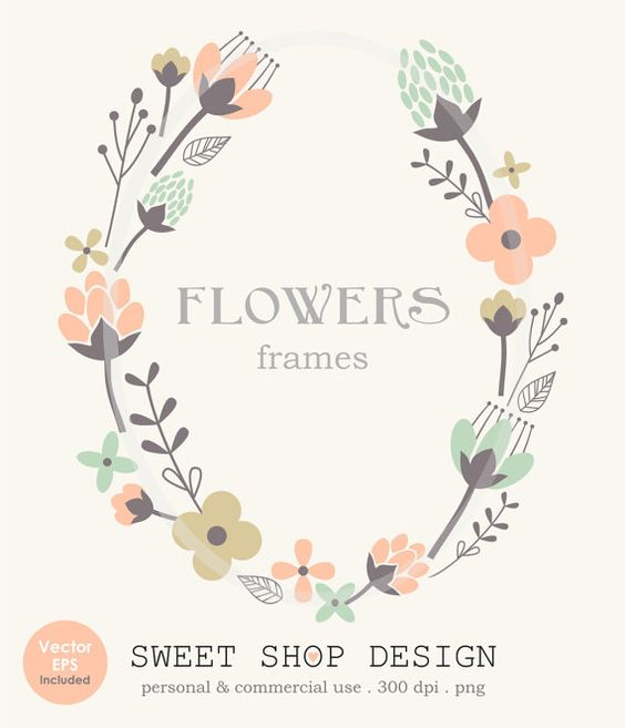 Flower Border Clip Art Frames Wedding Clip Art by SweetShopDesign.