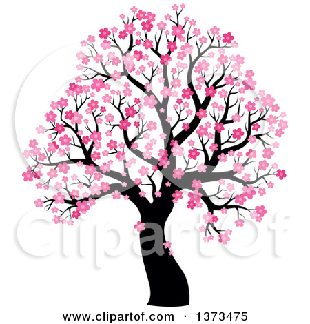 Clipart of a Silhouetted Tree with Blue Winter Blossoms.