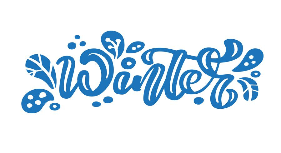 Winter blue vintage calligraphy lettering vector text. For.