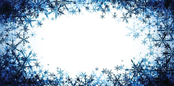 Winter banner with blue snowflakes. Clipart Image.