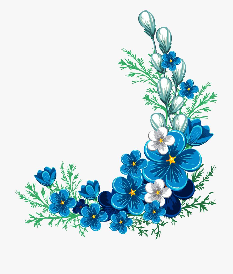 Blue Rose Border Clipart Blue Flower Border.
