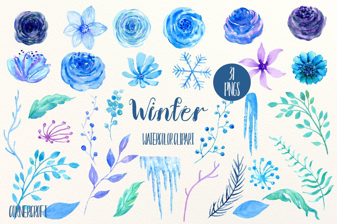 Blue flower clip art, Winter, watercolor blue & purple roses, flower,  icicles and snowflake, floral arrangement, wreaths for instant download.