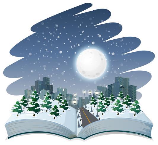 Open book winter night theme.