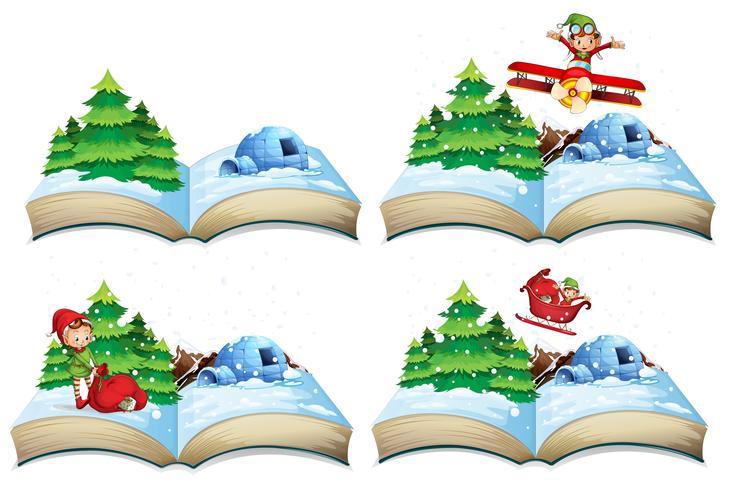 Winter landscape open book.