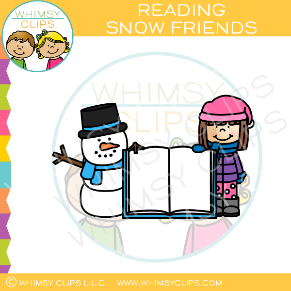 Winter reading clip art , Images & Illustrations.