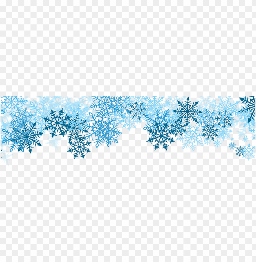 blue snowflakes border PNG image with transparent background.