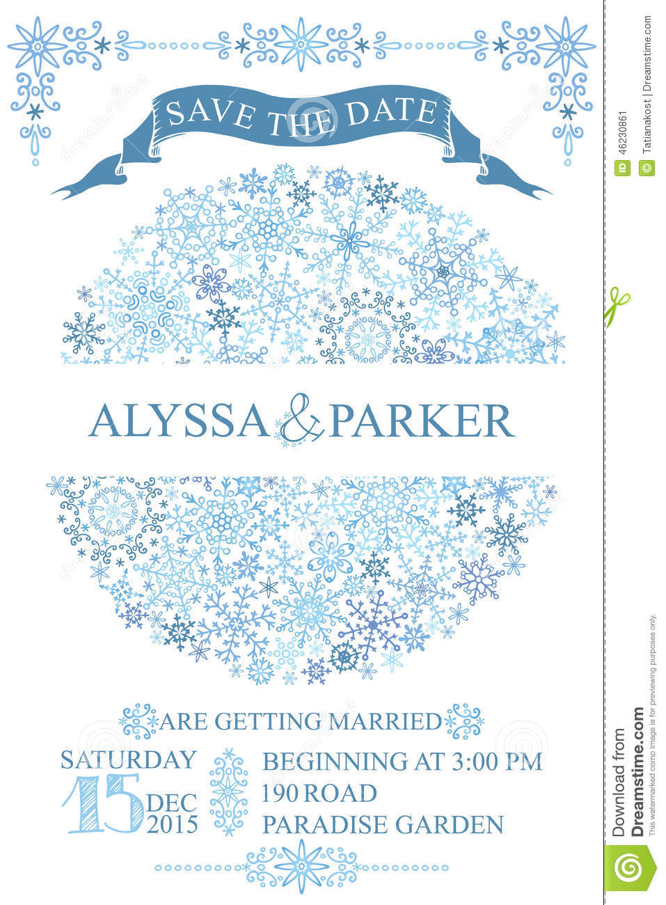Winter Wedding Save Date Card.Snowflakes Circle Stock Photo.