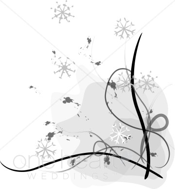 Snowy Border Winter Wedding Clipart