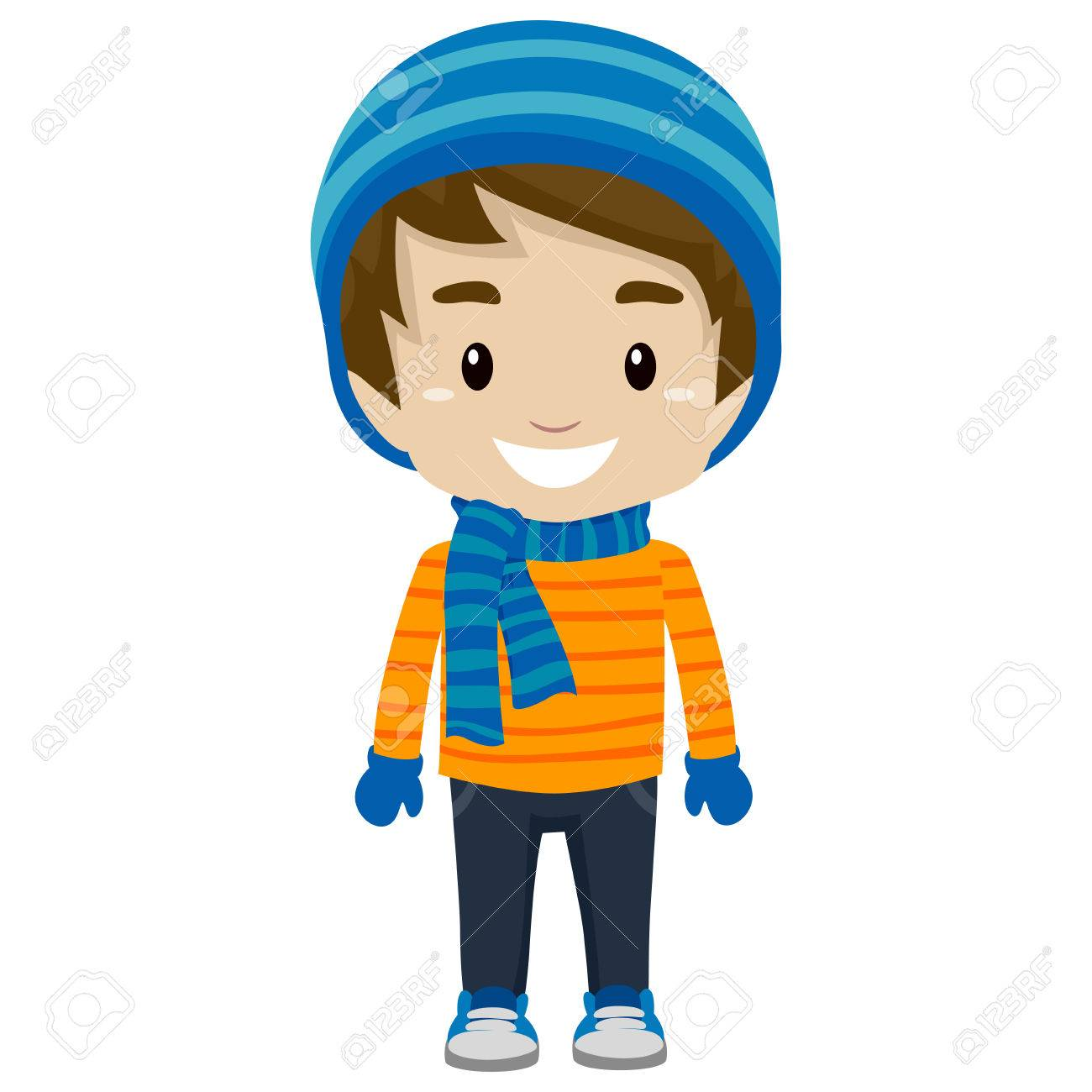 Illustration of Little Boy wearing Winter Clothes.