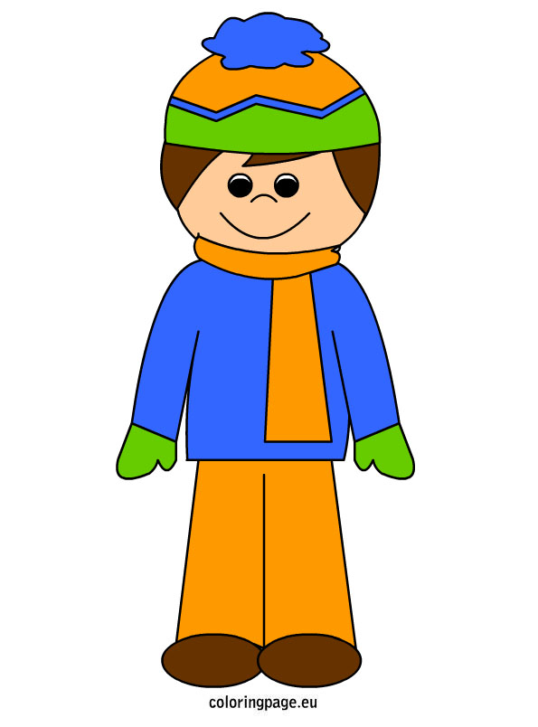 Clipart boy in winter.