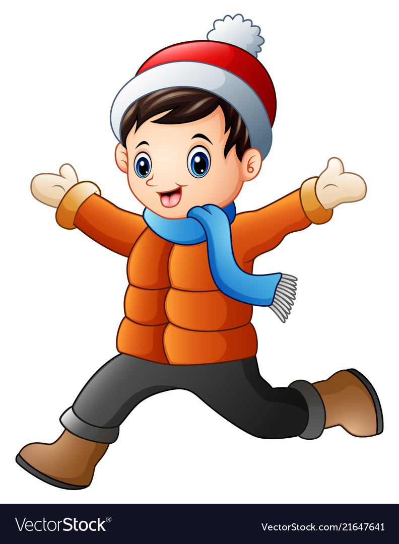 Cartoon boy wearing winter clothes.