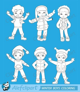 Digital Stamp Boys winter clothing clipart set.