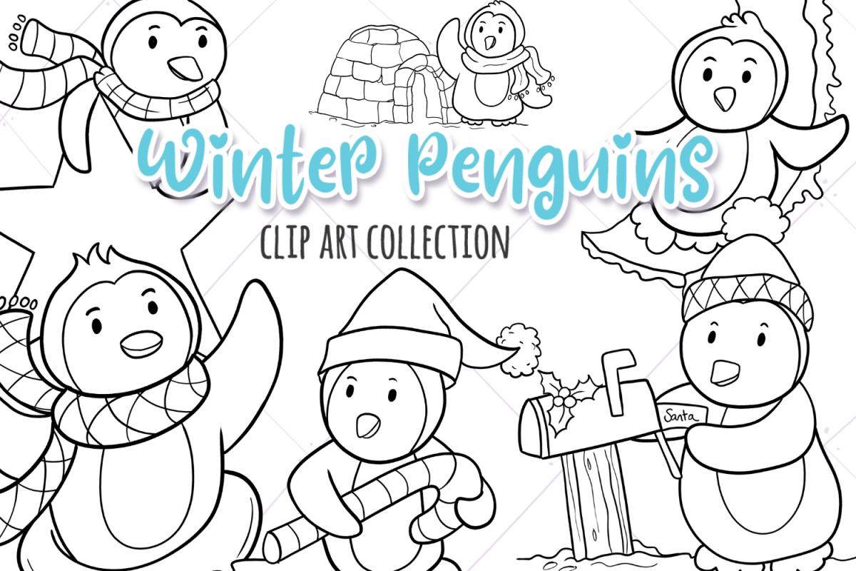 Winter Penguins Digital Stamps.
