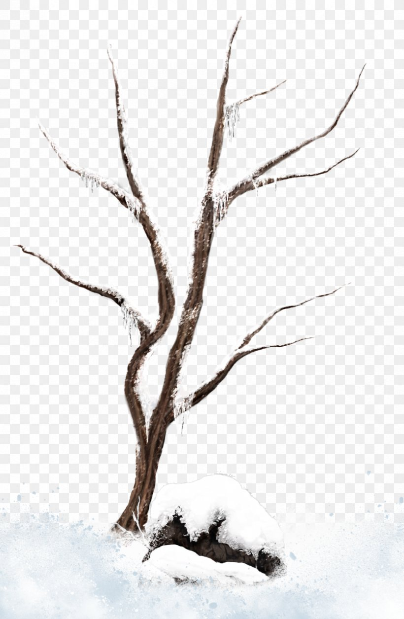 Tree Branch Snow Clip Art, PNG, 836x1280px, Tree, Black And.