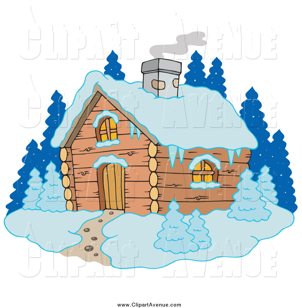 Avenue Clipart of Smoke Rising from a Winter Cabin in the Snow by.