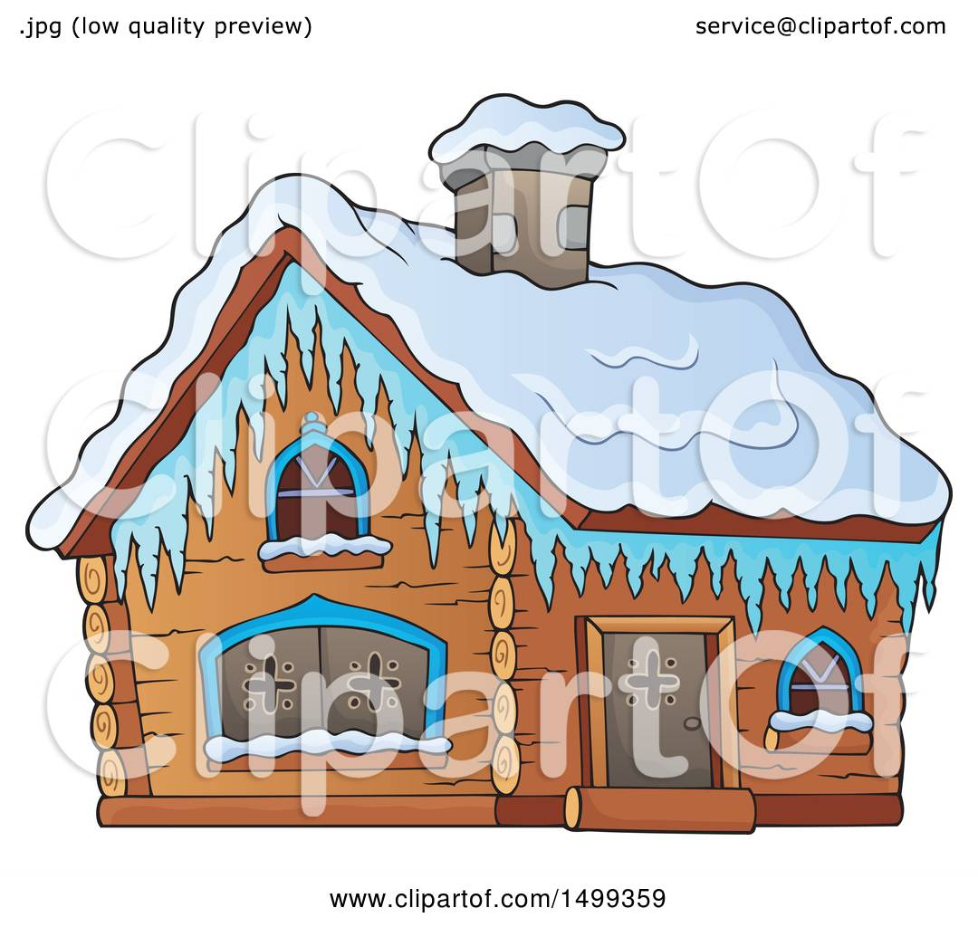 Clipart of a Winter Cottage or Log Cabin.
