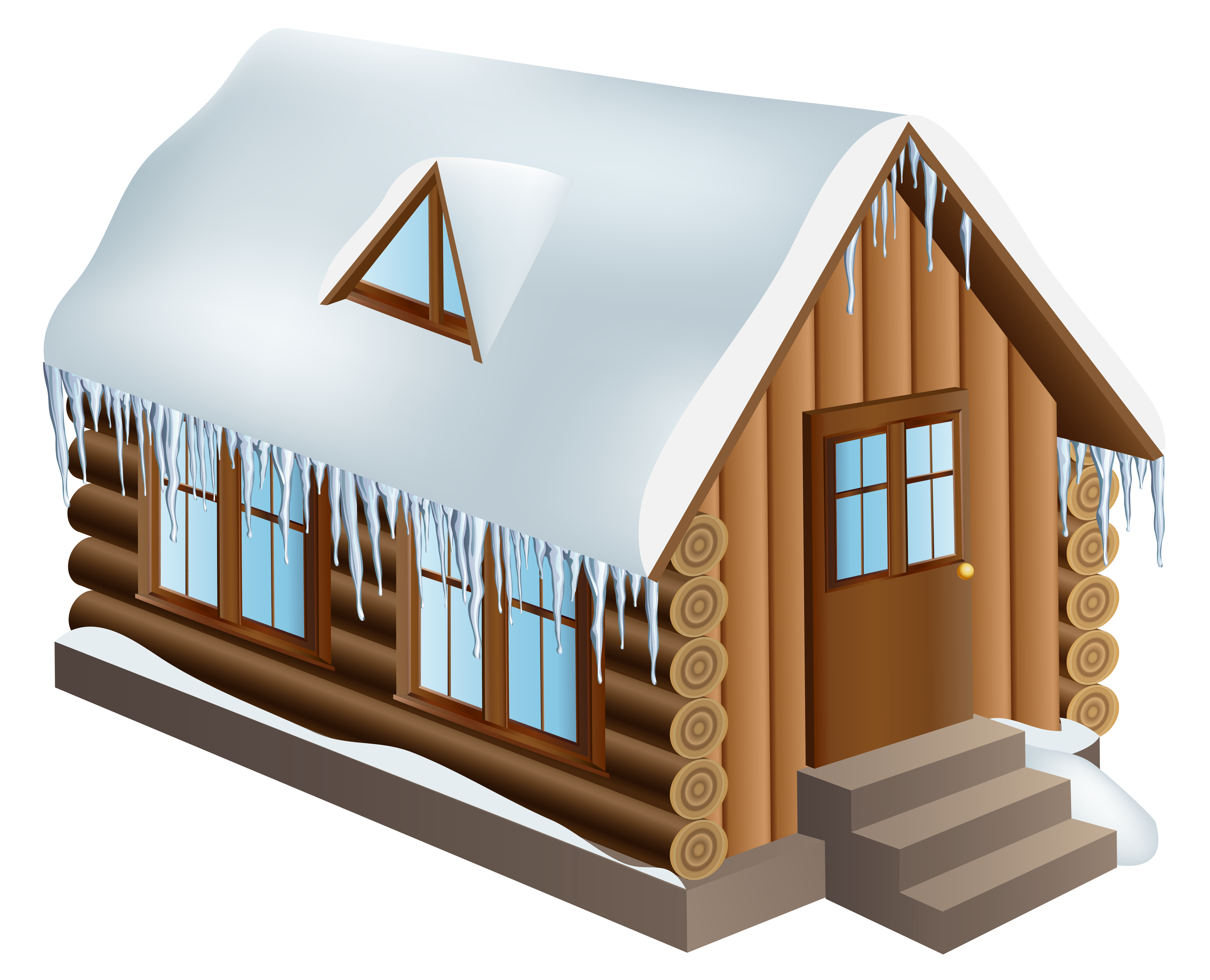 Winter Cabin House PNG Clip.