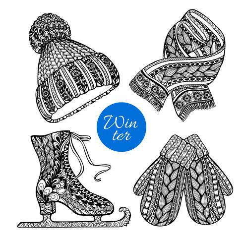 Decorative skates mittens scarf doodle icons.