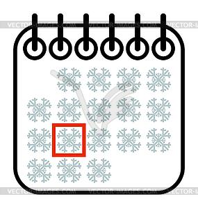 Christmas winter Calendar Date.