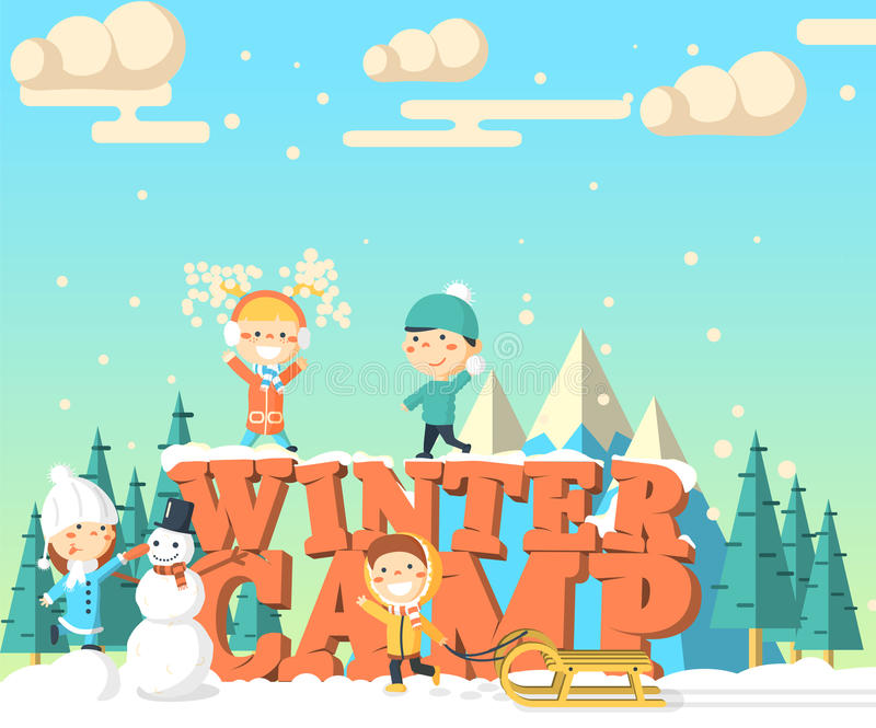 Kids Winter Camp Stock Illustrations.