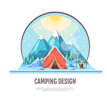 3,624 Winter Camping Stock Vector Illustration And Royalty Free.