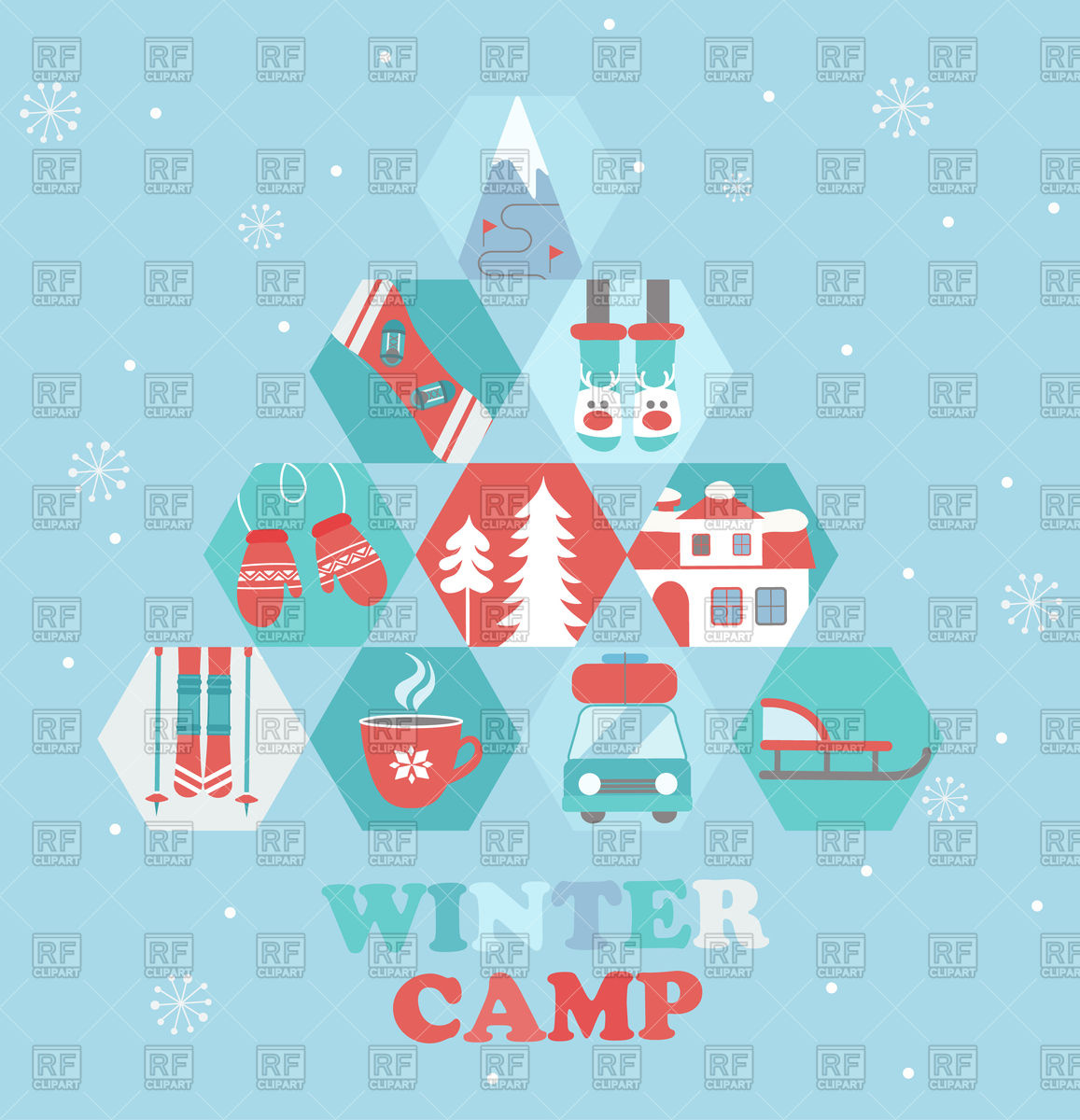 Christmas Holiday and winter Camp poster in flat style Stock Vector Image.