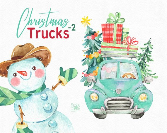 Christmas Truck 2. Watercolor holiday clipart, snowman.