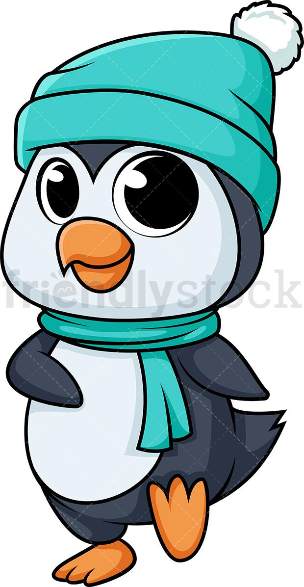 Cute Penguin In The Winter.