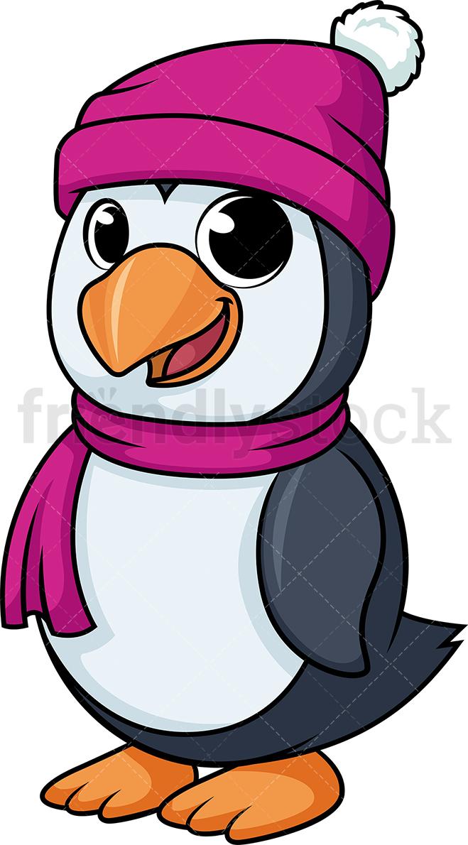 Penguin Dressed Up For Winter.