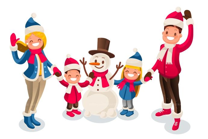 Winter Fun Isometric People Cartoon Family and.