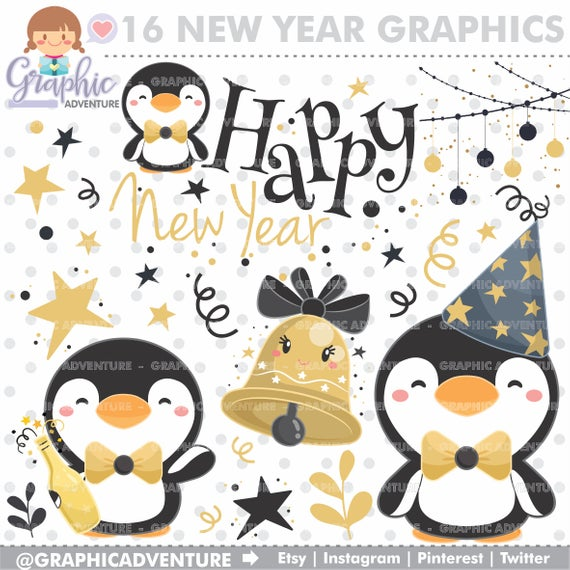 New Year Clipart, New Year Graphic, Penguin Clipart, COMMERCIAL USE, New  Year's Eve Clipart, Winter Clipart, Winter Graphics, Celebration.