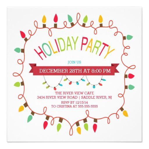 Merry & Bright Christmas Lights Holiday Invitation.