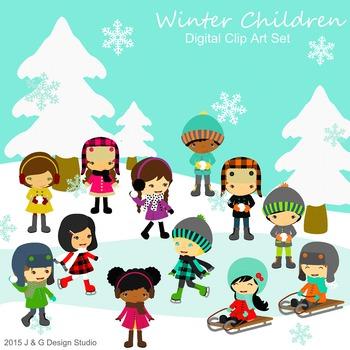 Winter Kids, Children Digital Clipart.