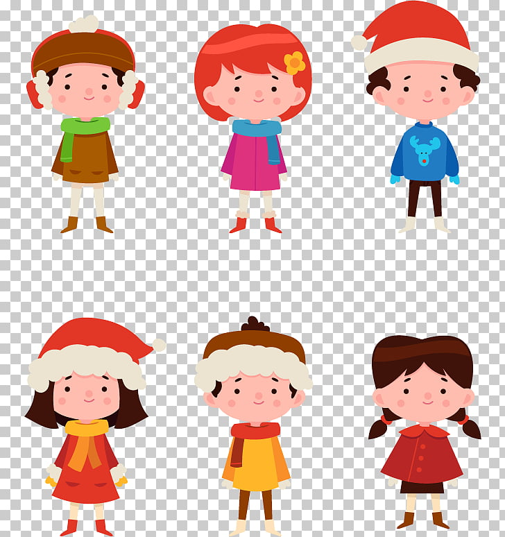 Child Winter , 6 cute winter children PNG clipart.