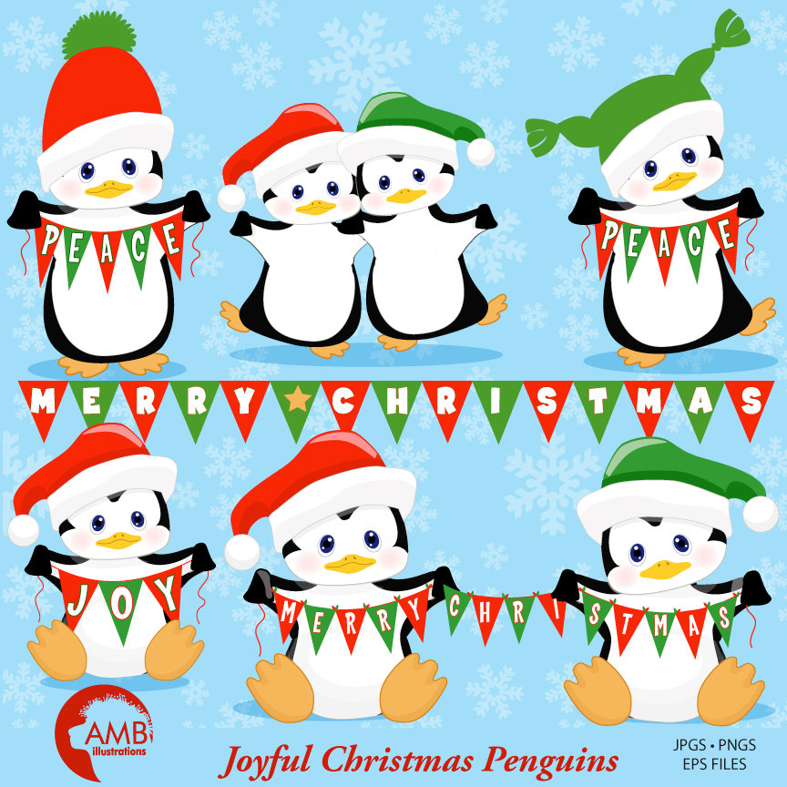 Christmas clipart, Penguin clipart, Winter clipart, AMB.