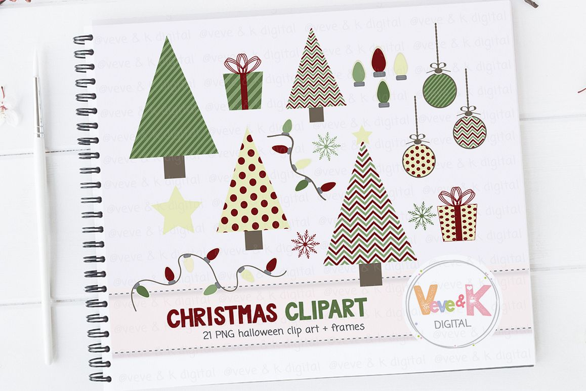 Christmas Clipart, Christmas Tree Clipart, Cute Christmas Clipart, Winter  Card Overlays, Snowflakes Clipart, Holiday Clipart.