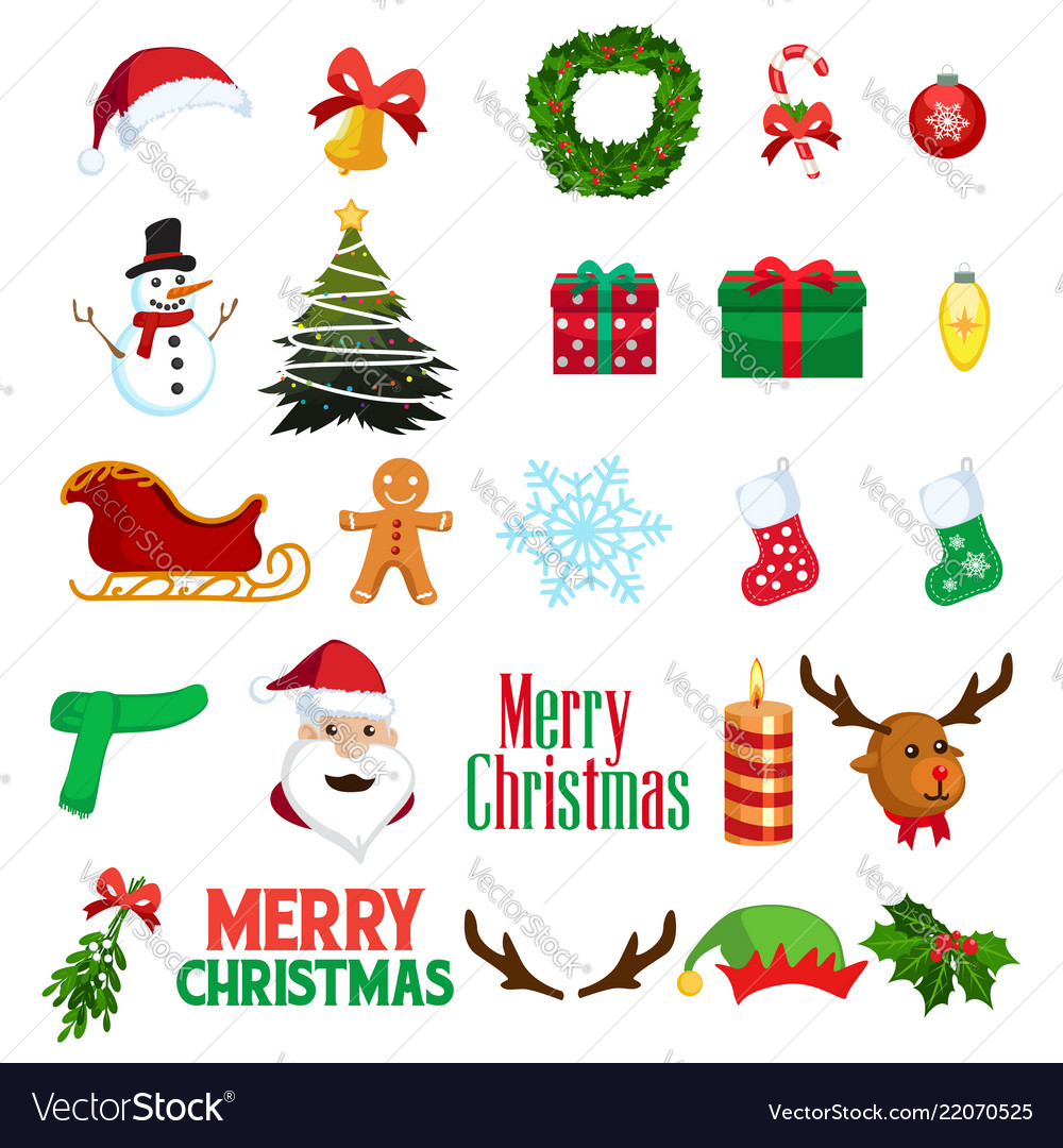 Christmas winter clipart icons.