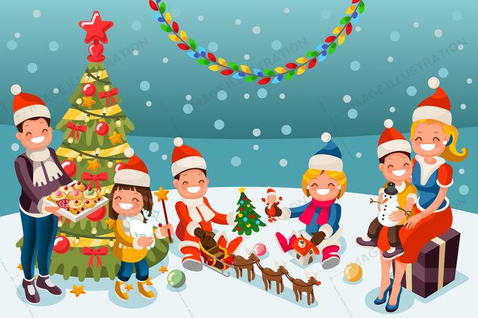 Winter Christmas Party Night Illustration.