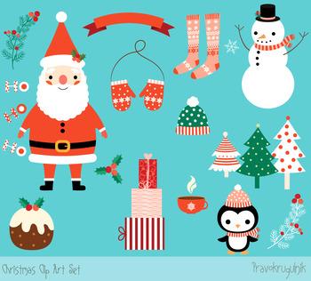 Christmas clipart set, Cute Santa Claus clip art, Winter holiday Penguin.